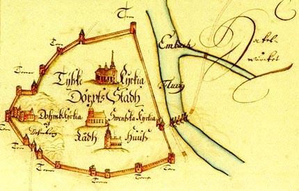 Mapa miasta z przełomu XVI i XVII wieku