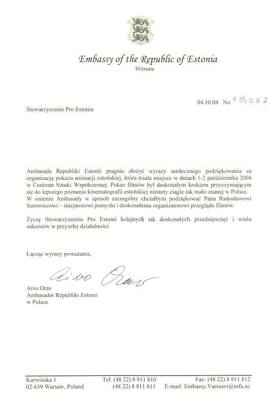 List ambasadora Estonii - Aivo Orava