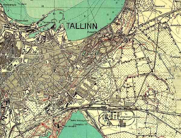 Mapa Tallina w okresie międzywojennym